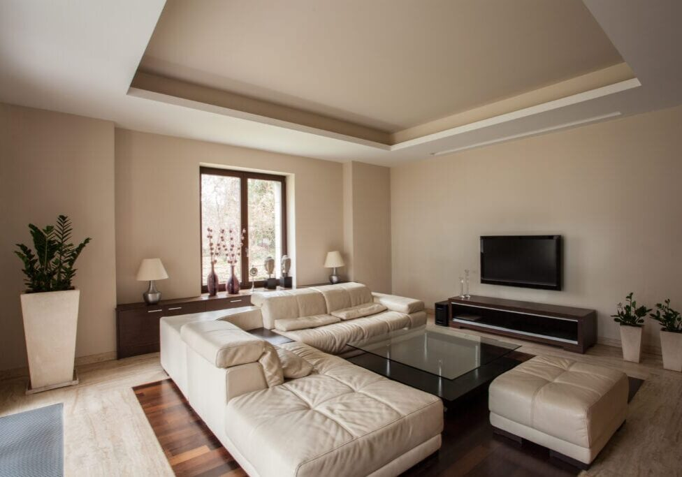 Travertine house: Horizontal view of a living room interior